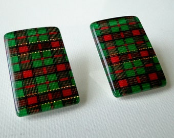 Vintage, Plaid, Rectangle, Post, Earrings, Green, Red, Lucite, Retro, Accessories, Pierced Earrings
