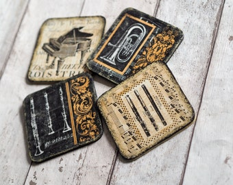 Home Coasters Gift, Music Home Decor, Music Coasters, Music Home Accessory, Music Teacher Gift, Rustic Drink Coasters, Rustic Coaster Set