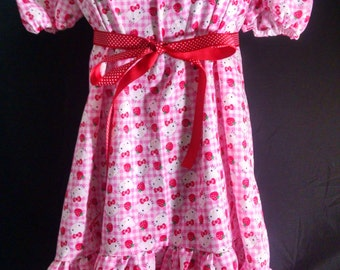 ABDL/Little/Sissy Ruffled peasant dress- Hello Kitty gingham and strawberries fabric