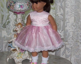 """Pink Party Dress for American Girl Doll.  18"""" Doll.  Lace, Satin, Organza, Sparkly.  Lined.  Winnie's Wardrobe"""