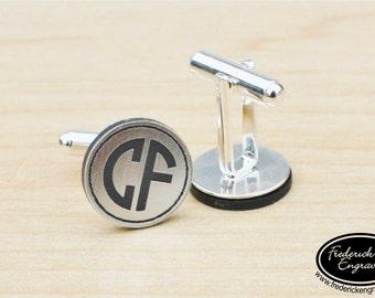 SHIPS FAST, Personalized Groomsmen Cuff Links, Engraved Groomsmen Monogram Cuff Links, Groomsman Cuff links, Personalized Cuff Links, CF04