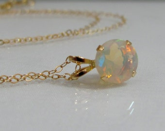 Solid Gold Opal Necklace, 7mm Faceted Opal Gemstone, October Birthstone, 14K Gold Ethiopian Opal Pendant, Wedding Jewelry, Bride Necklace