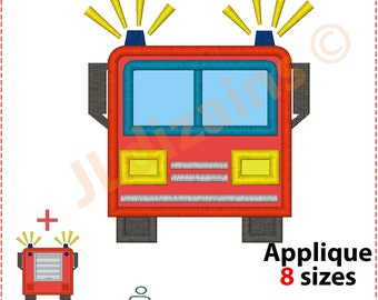 FIRE Truck Machine embroidery design - INSTANT DOWNLOAD - 8 sizes