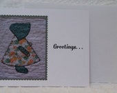 Note Card for Quilters, Vintage Sunbonnet Sue, Green Orange Print, 30s Fabric, Primitive, Quilt, Blank Flat Greeting Note Card, Collect Them