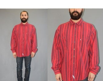 Levis Striped Red Long Sleeve Button Up Shirt Wide Striped Shirt Levis Shirt 90s Levis Shirt  - XL