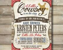 Cowboy Baby Shower Invite Invitation Boy Paisley Red Brown Western Vintage Wood Barn Board Saddle Up Sheriff Star Oh Boy Baby Bandana DIY