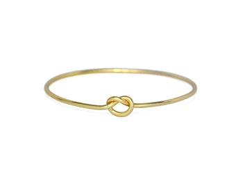 Gold Knot Bangle Bracelet, 18K Gold  plated Love Knot Bracelet, Gifts for Her
