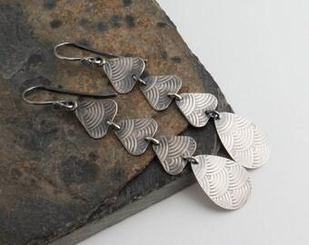 Dangle Teardrop Trangle Earrings,Triangle Drops,Silver Earrings,Drop Earrings,Long Earrings,Everyday jewelry,Trio Teardrops,Modern Jewelry