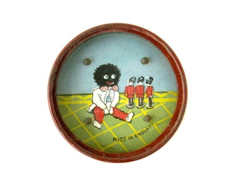 VINTAGE DEXTERITY GAME - Very rare and collectable dexterity toy game / golliwog and three little tin soldiers