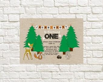 Birthday Invitation Woodland Theme First Birthday Invite Forest Animals Birthday Theme Printable Invitation