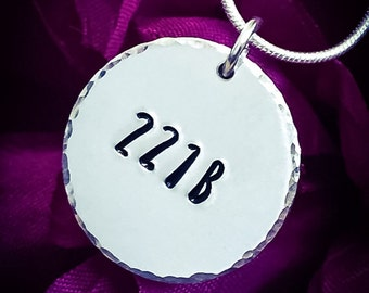 221B Hand Stamped Necklace.  Sherlock Necklace, Sherlock Jewellery, Sherlock Holmes, Sherlock Holmes Necklace, 221B Necklace, 221B Jewllery