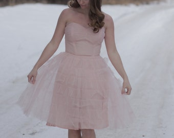 Pink Tulle 1950s Party Dress