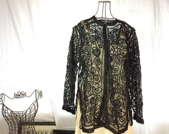 Vintage Black Sheer Piped Cardigan