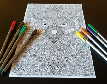 Owl Mandala Detailed Colouring Page