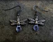Silver Faery Earrings (Labradorite and Purple Glass)