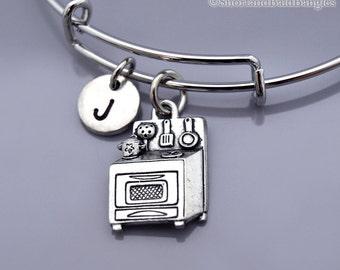 Kitchen stove bracelet, Kitchen stove bangle, Kitchen oven, silver stove charm, silver oven charm, kitchen appliance, Initial bracelet