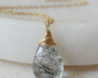 Tourmalinated Quartz Necklace , Black Quartz Necklace, Black Rutilated  Quartz, 14k Gold Necklace, 14k Gold Filled Jewelry
