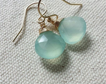 Aqua Chalcedony Earrings, 14K Gold Chalcedony Earrings, Aqua Earrings, Chalcedony Gemstones