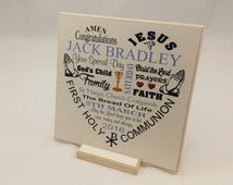 First Communion Gift, Boy, Girl, Personalised Wooden Plaque, Handmade Display, Wall Decor, Christian, Gift ideas God Son, God Daughter, b093