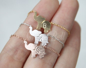 Personalized elephant necklace, Elephant jewelry, Initial necklace, Animal necklace, Animal jewelry, Personalized jewelry, BFF necklace