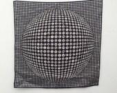 Vintage GIVENCHY silk scarf 80s monogram black/white 3D pattern