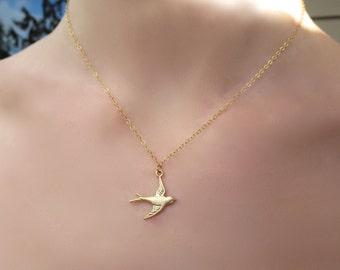 Simplistic Gold Sparrow Charm Necklace