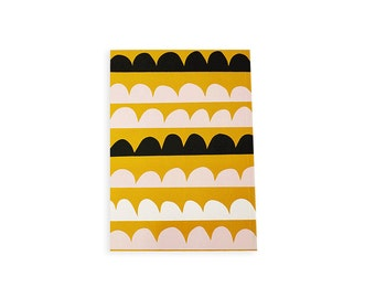 """Illustrated Notebook 100 lined sheets - A5 14.8cmX21cm (5.8""""X8.3"""") Dark Wave pattern Pastel colors Notepads"""