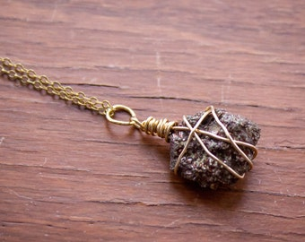 Petite Wire Wrapped Pyrite Cluster Necklace