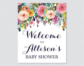 Floral Baby Shower Welcome Sign Printable Personalized Shower Welcome Sign - Flower Baby Shower Customized Sign - Shabby Chic Sign 0025-B