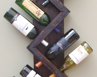 Wood Wall Wine Rack-Handmade Wood Bottle Holder-Wine Bottle Display-Holds 8 Bottles & Handmade