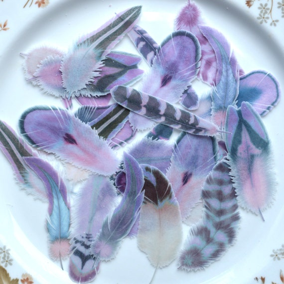 rice paper feather wedding cake edible feathers purple boho wedding cake 19224