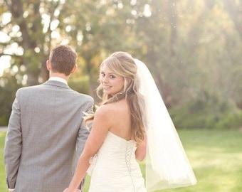 Wedding veil Fingertip length Wedding Bridal tulle Veil white, ivory, Wedding bridal Veil Fingertip length bridal cut veil Ready to ship