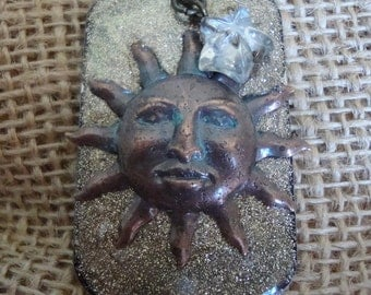 Sun and Stars Vintaj Natural Brass Necklace