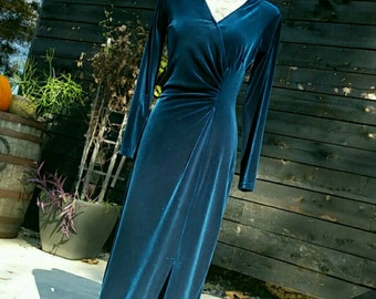 Robbie Bee (XS-S) Teal Blue Velvet Hollywood Glam Long Dress Vintage Women's