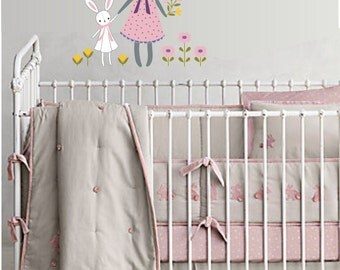 Baby Bunny and Custom Name Vinyl Wall Decal - Nursery or Children's Room Wall Sticker