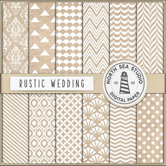 Buy5for8 Rustic Wedding Digital Paper Kraft Digital Paper Kraft