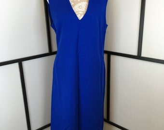 Bright Blue Dress, Royal Blue Jumper, Vintage Dress, Womens Dress, Ladies Dress, Sleeveless Dress, V-Neck Dress, Size Medium or Large