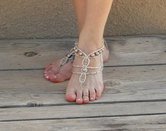 Barefoot Jewelry, bottomless Sandals, Platinum Pearls, Bohemian Chain Style Barefoot Sandals, Beach Footwear, Gypsy Wedding shoes, Hemp