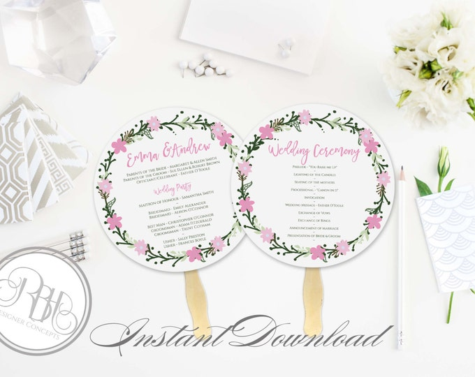 Rustic Pink Wreath Wedding Program Fan Template -Instant DOWNLOAD - EDITABLE TEXT pdf Only - Rustic Pink Wreath Round Fan -Olinda
