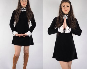 Black Velvet, Mod Dress With White standing Collar and Cuffs