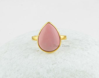 Stunning Pink Opal Bezel Ring, Pink Opal Pear 12x16 Sterling Silver Ring - Birthstone Ring - Gold Plated Ring - #7011