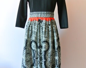 Vintage 1960's Red and Black Maxi Dress