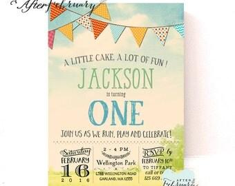 Park Birthday Invitations // Banner Cake Birthday Invitations Bunting Birthday Invitations Invites // Printable No.406KIDS