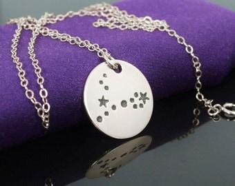 Sterling Silver Pisces Necklace, Pisces Necklace, Sterling Silver, Pisces Constellation, Pisces Jewelry, Zodiac Pendant, Pisces Necklace