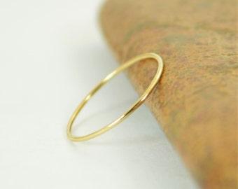 Solid 14k Yellow Gold  Ring, Super Thin Stacking, Round Minimal Gold Ring, Yellow Gold Ring, Solid Gold Ring, 14k Gold Ring, Real Gold Ring