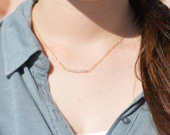Quartz crystal Necklace, Gem Bar, Dainty 14k Gold Fill, Sterling Silver, Rose Gold, White Necklace, Faceted Quartz, Bar Necklace, Gold
