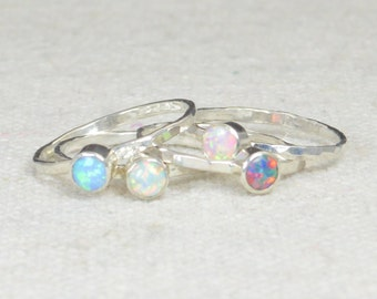 Grab 4 - Small Opal Rings, Opal Ring, Opal Jewelry, Stacking Ring, October Birthstone Ring, Opal Ring,  Mothers Ring