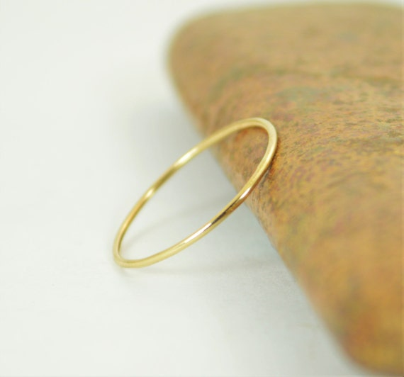 solid 14k yellow gold ring thin stacking