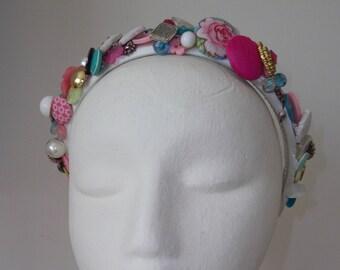 Vintage style Button Headband
