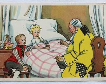 "Illustrator Goltz. Vintage Soviet Postcard ""The Nutcracker and the Mouse King"" E. T. A. Hoffmann - 1958. Sovetskiy hudozhnik. Man, Girl, Boy"